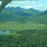 This beautiful, lush landscape shows rivers that area ripe for luxury fishing of salmon and dolly varden.
