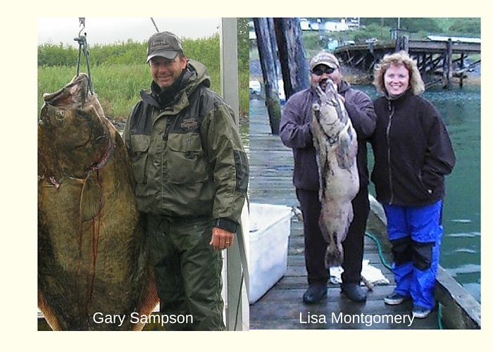 Man standing next to large brown halibut, woman standing next to man holding ling cod