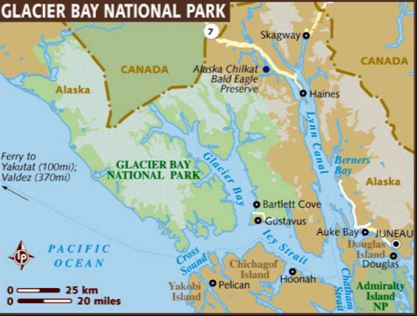 Map of Glacier Bay Alaska