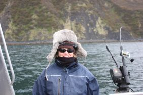 Kodiak Fishing Report Lisa in Fur Hat