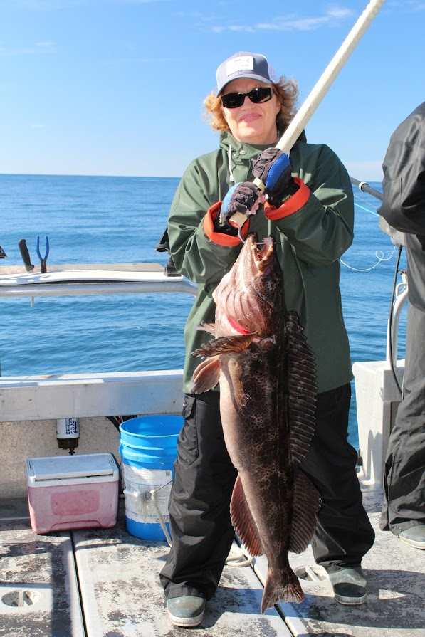 Kodiak fishing season_855-711-7773 Lisa with ling cod
